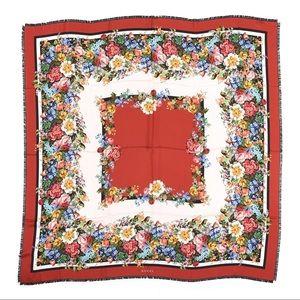 Gucci Silk Josephine Stripe Red Floral Scarf